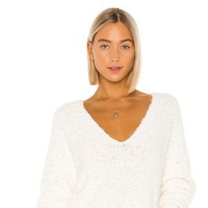 NEW Medium M Womens Free People Finders Keepers V Neck White Sweater OB1010983